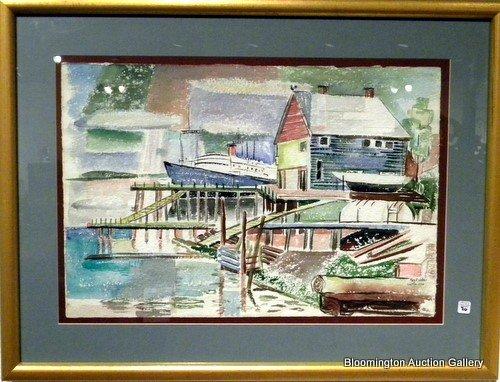 Framed Watercolor Dock Scene sg Mary Walker