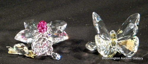 2 Swarovski Crystal Flower Items - Orchid & Butterfly