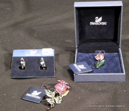 Swarovski Jewelry: 2 Pins and Pair Earrings