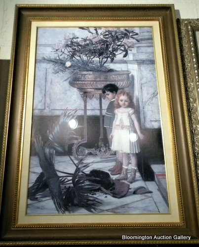 Decorator print of 2 children with broken potted plant