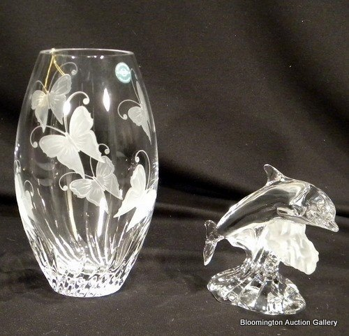 Lenox Crystal Items - Dolphins & Butterfly Vase