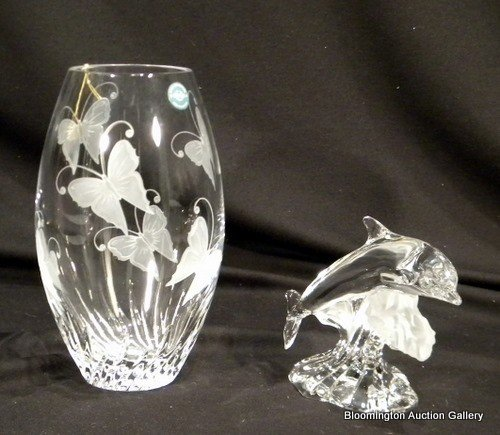 Lenox Crystal Items - Dolphins & Butterfly Vase - 2