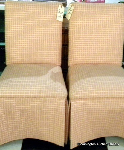 Pair Upholstered Slipper Chairs