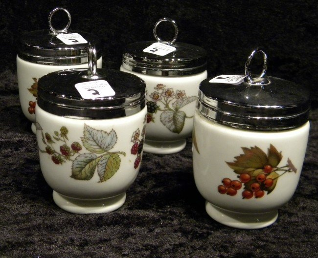 4 Royal Worcester Egg Coddlers w/Flowers
