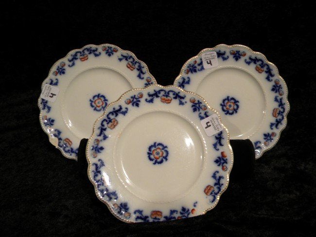 3 Wm. Grindley Small Flow Blue Plates