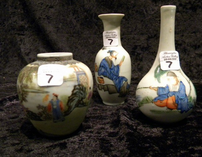 3 Small Chinese Porcelain Decorated Vases, Vintage