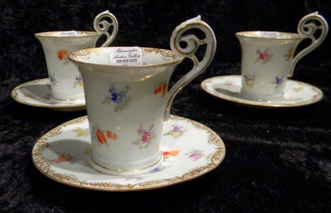 3  Samson Demi-tasse Cups & Saucers
