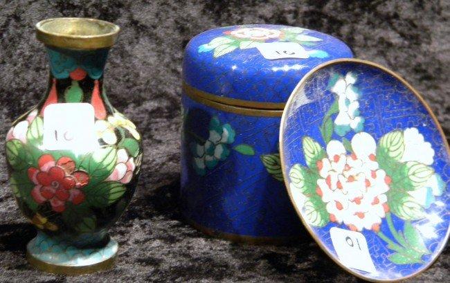 3 Cloisonne Items - Jar, Vase, Plate