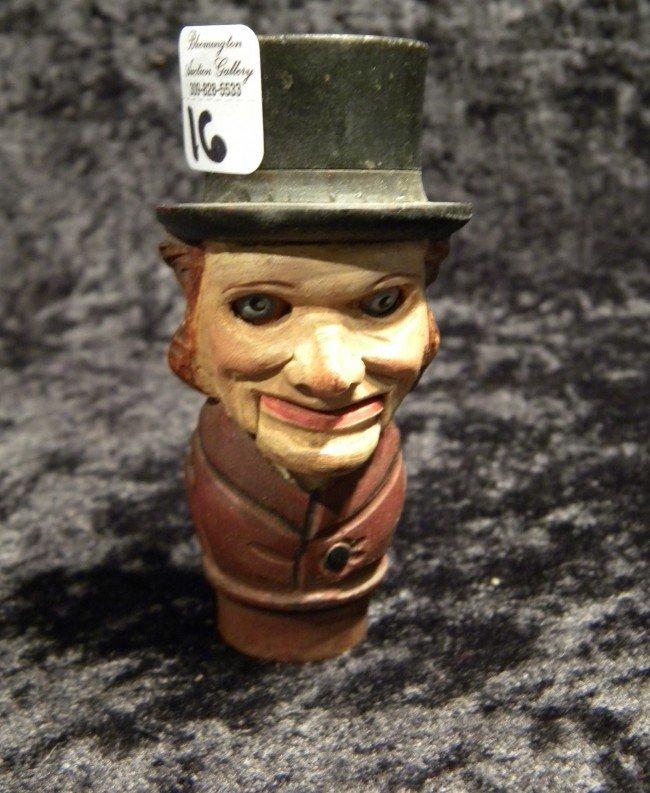 Carved Abraham Lincoln Wine Bottle Stopper