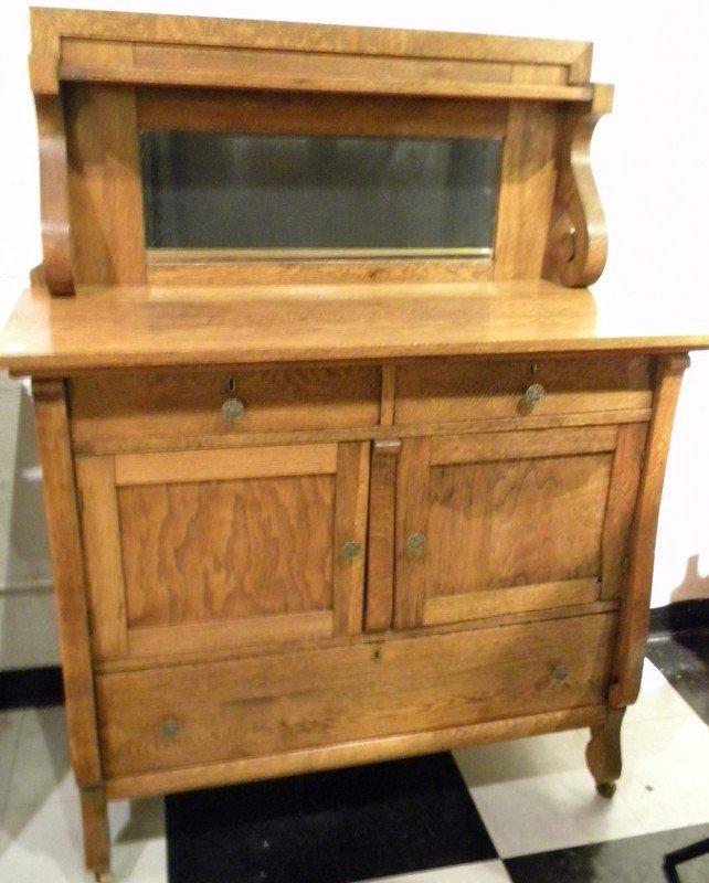 Quarter Sawn Oak Sideboard, Mirrored, Antique