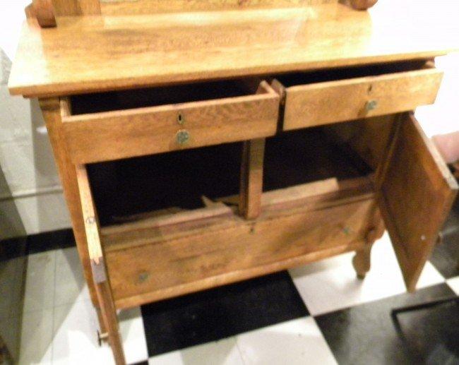 Quarter Sawn Oak Sideboard, Mirrored, Antique - 3