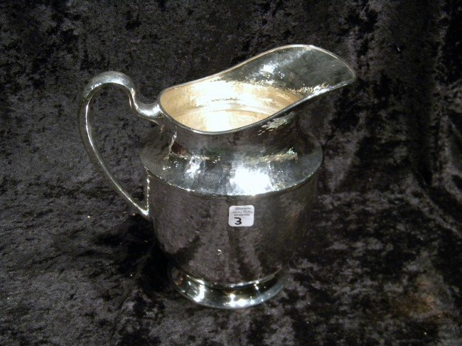 Derby S.P. & Co Hammered Silver Plate Water Pitcher