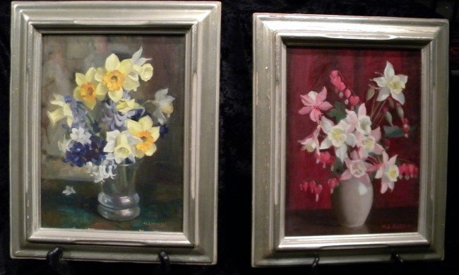 Pr Floral Oil Paintings, signed M. S. Pearson