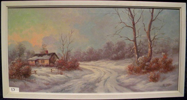 Framed R. Lester Signed Oil on Canvas, Cabin Scene