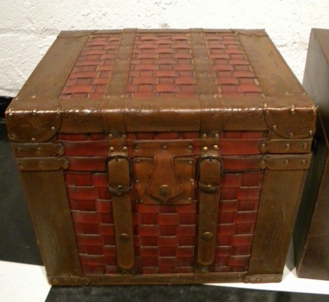 Leather Covered Decorator Trunk