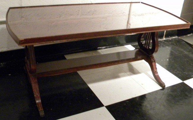 Mersman Glass-Top Veneer Coffee Table
