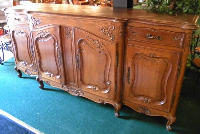 19th C HIGHLY DECORATED French Walnut Sideboard
