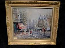 Framed Original Lucien Delarue Oil on Canvas Place St