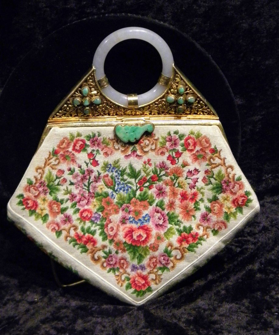 Marshall Fields White Petit Point Embroidered Purse w/J
