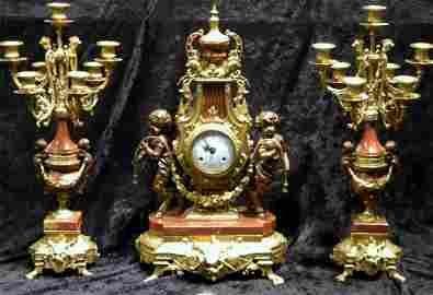 Three Piece Gilt Metal & Marble Clock Garniture Set