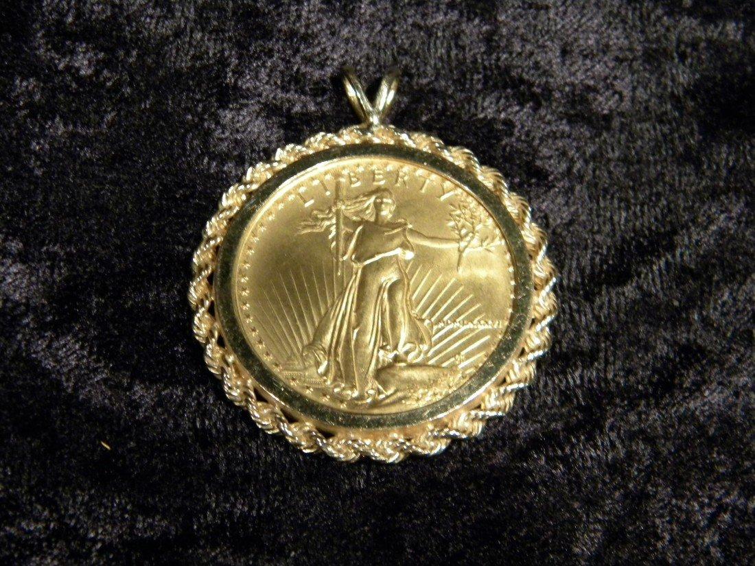 1986 Amer Gold Eagle $50 Coin in 14Kt Bezel, 1.517 oz