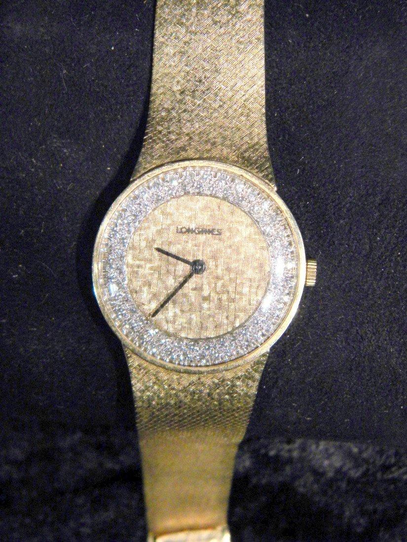 14Kt Yellow Gold Longines Wrist Watch w/ Diamond Bezel