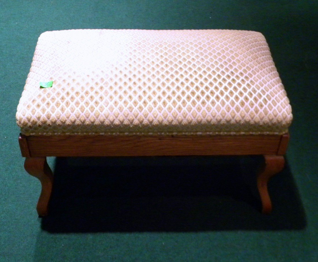 Oak Footstool w/ Gold & White Upholstery