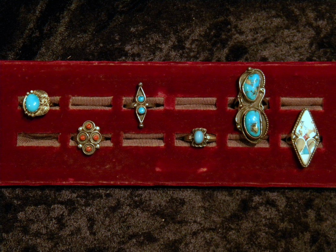 6 Silver Rings Set with Turquoise Stones