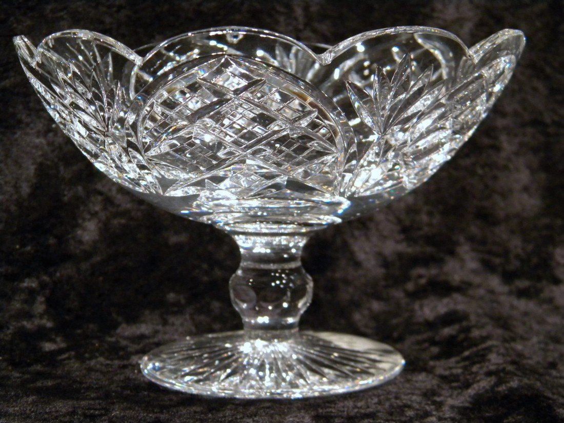 """Heritage Crystal Pedestal Bowl, Cathedral Pattern WOB"
