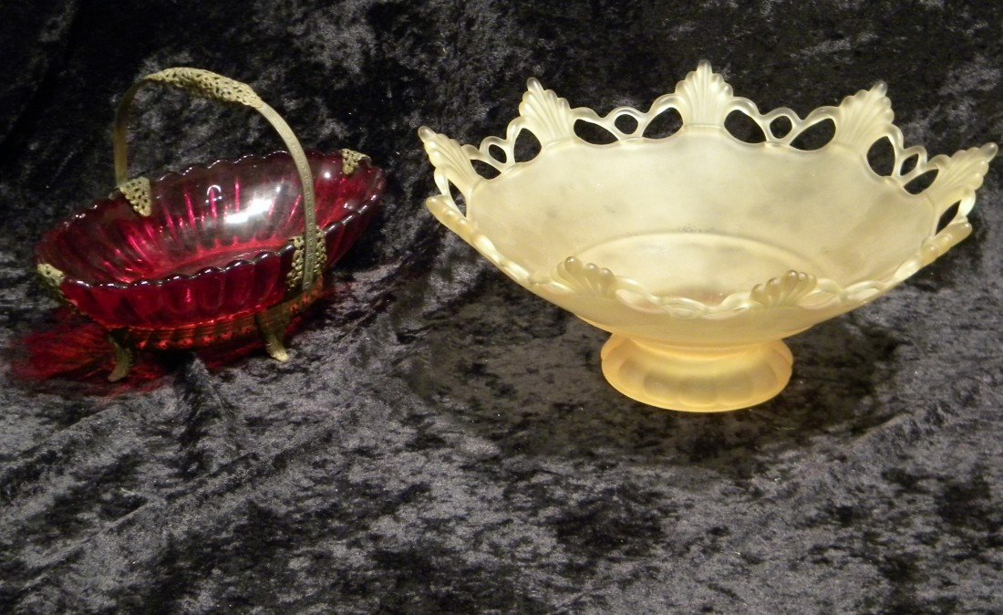 Frosted Yellow Glass Pedestal Bowl & Red Glass Oval Bow