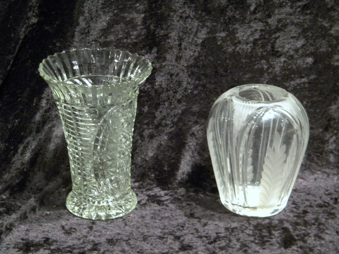 2 Glass Vases (1 etched)