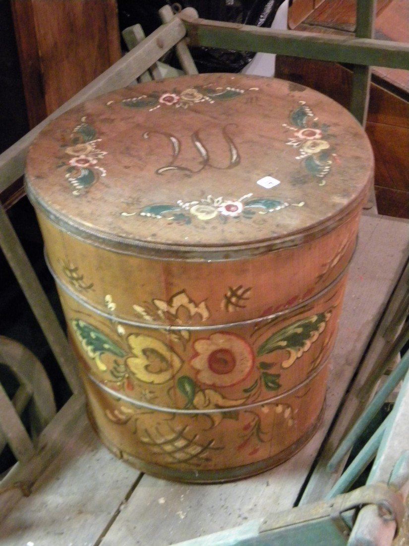 Primitive Hand Painted Lidded Nail Barrel