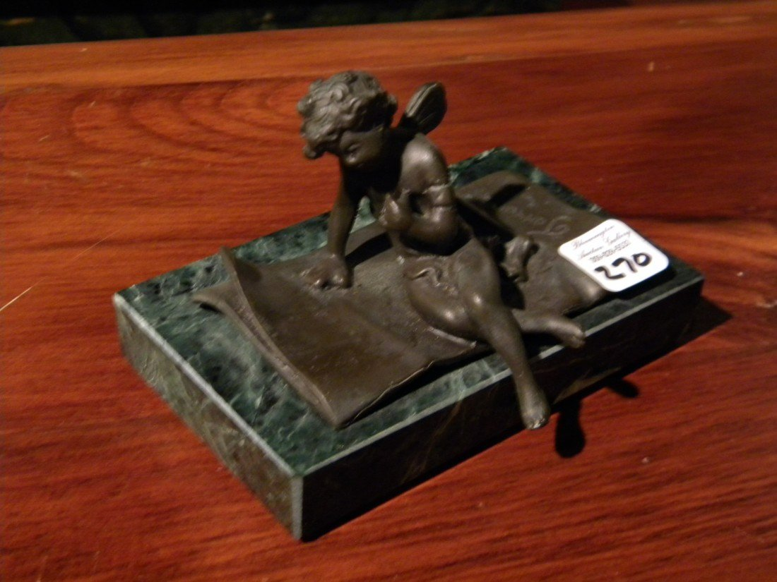 Modern Bronze, Cupid Leaning on One Arm, on Green Marbl