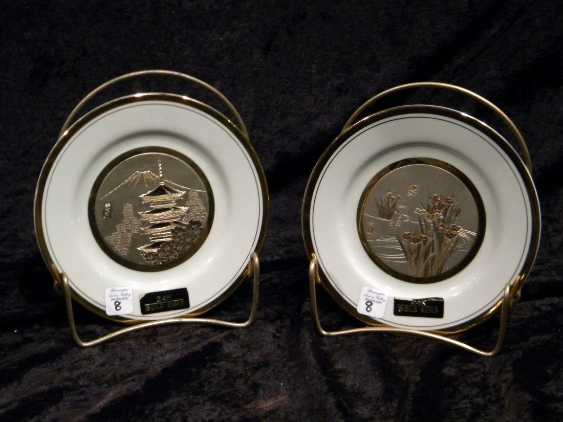 Two Porcelain Chokin Plates dec/w 24Kt Gold