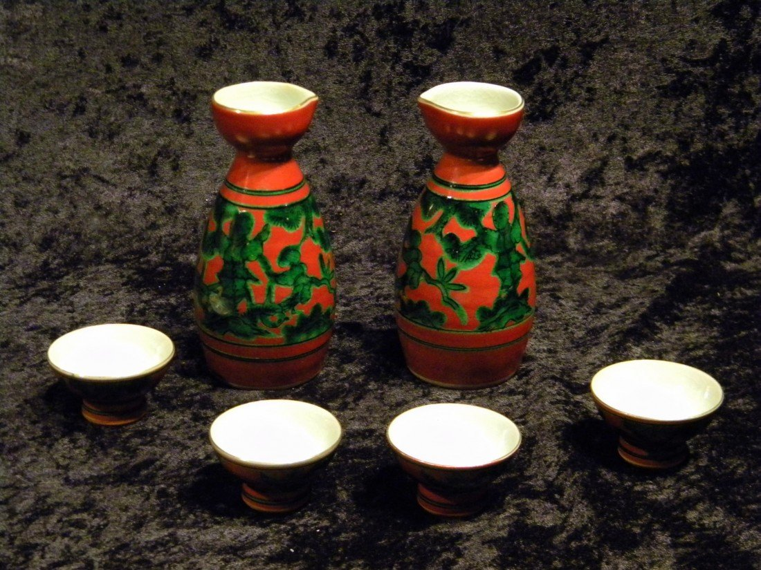 Red Painted Porcelain Sake Set