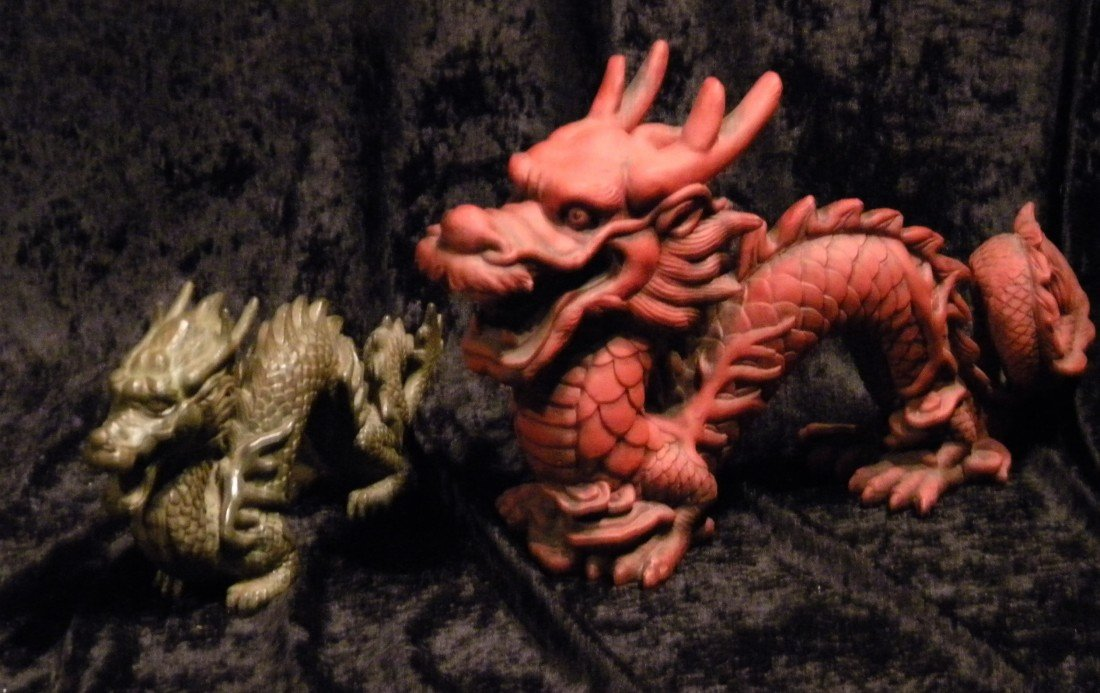 Two Dragon Figures