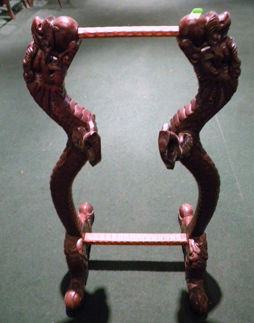 Wooden Hand Carved Samurai Sword Stand Dec/W Dragons