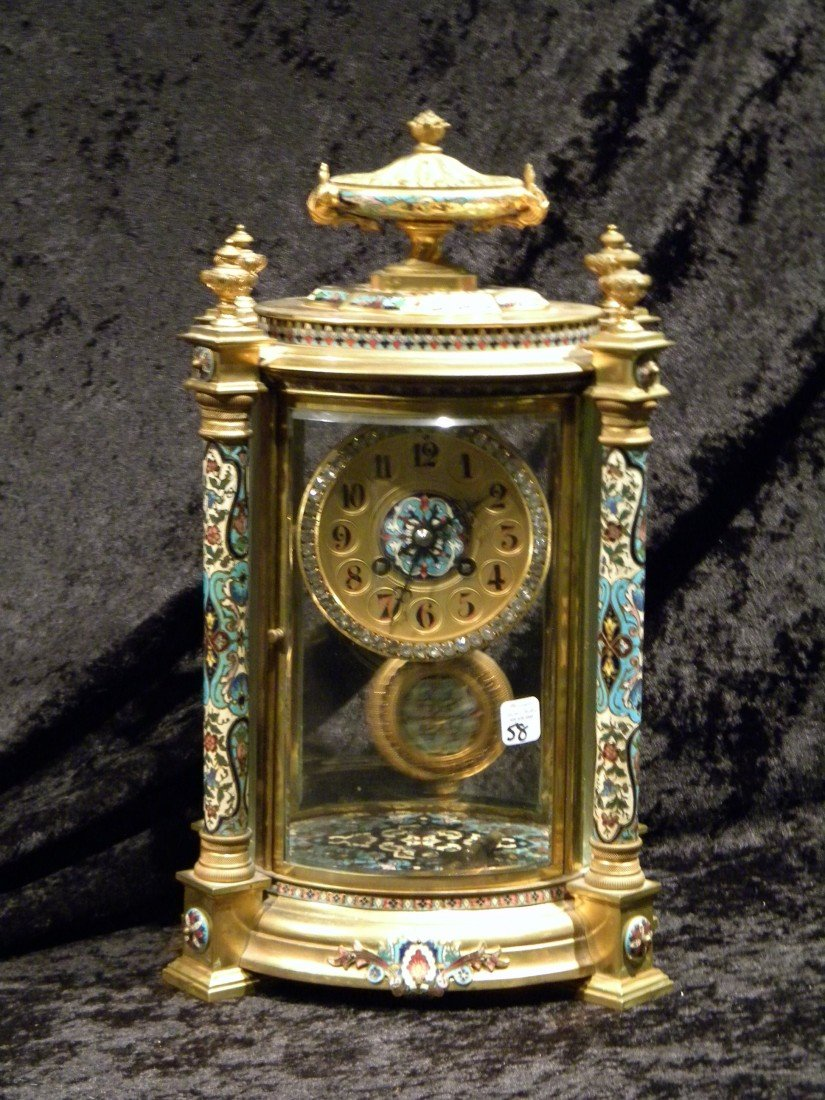 French Japy Freres Bronze & Cloisonne Mantle Clock