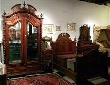 Antique English Walnut Highly Ornate Revival 4-Piece Be