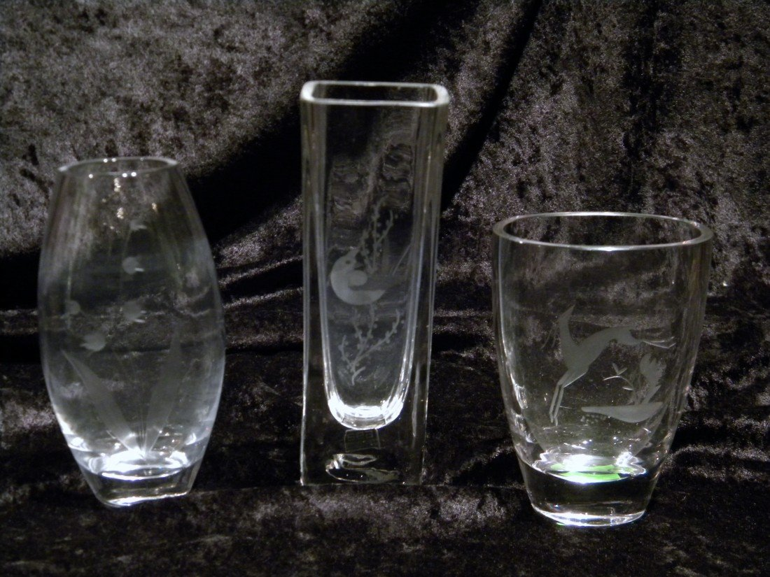 3 Crystal Vases: Kosta and 2 Unmarked