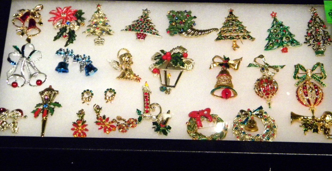 Lot of Christmas Themed Costume Jewelry in Display Case