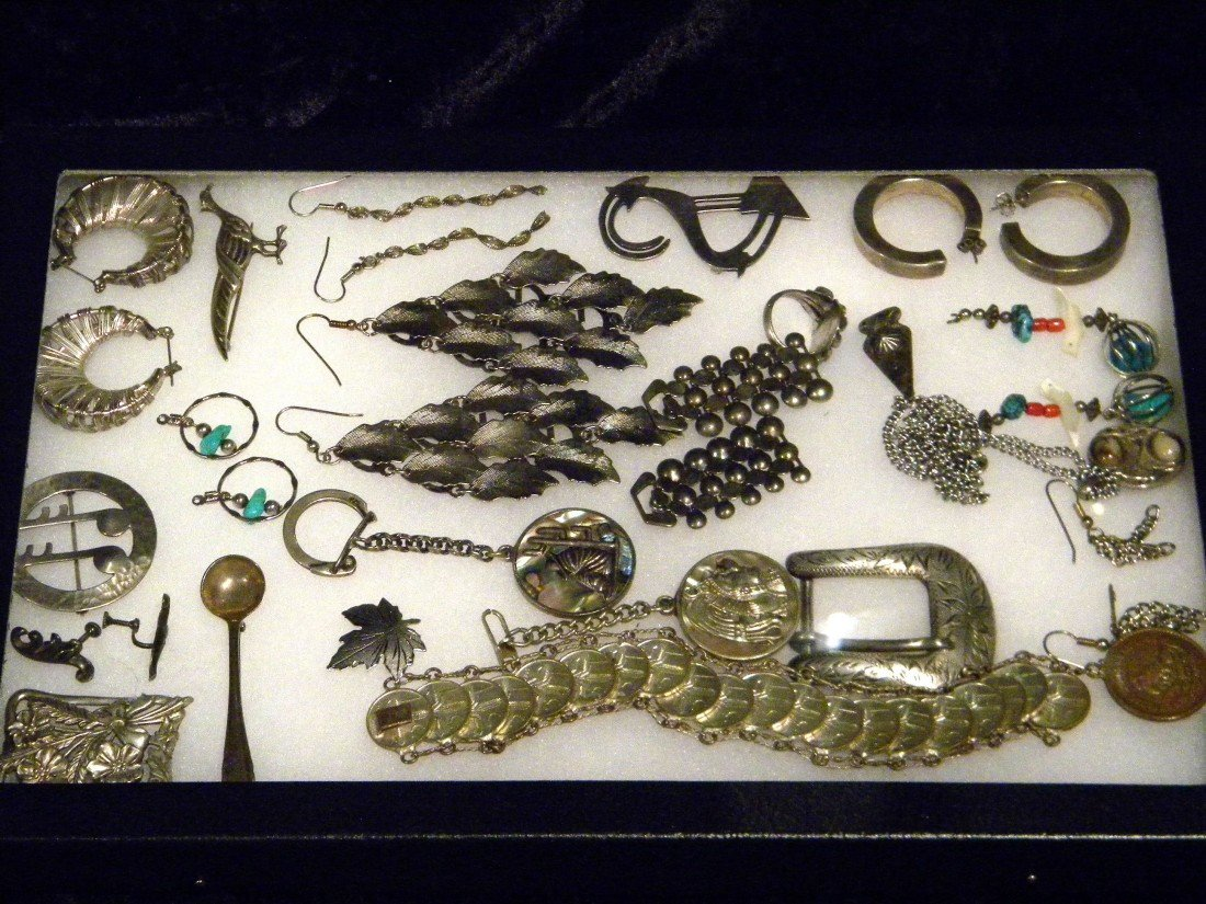Lot of Costume Jewelry in Glass Top Display Case