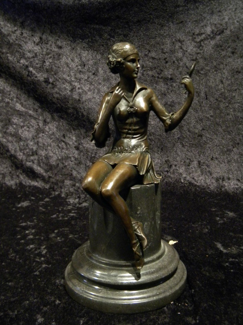 Vintage Bronze Statue of Lady Sitting Signed Preiss