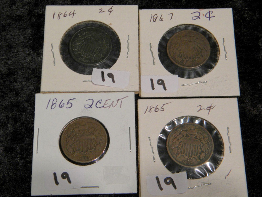 Four 2 Cent Coins: 1864, two 1865 & 1867