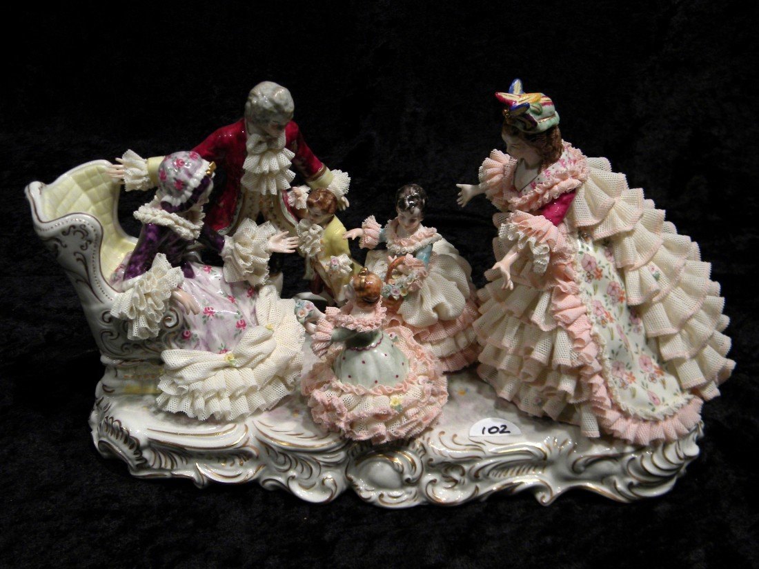 "MZ Irish Dresden ""Grandmother's Birthday"" Porcelain Gro"