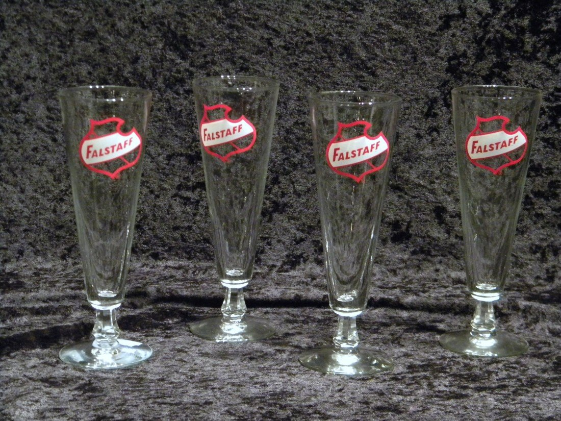 4 Fallstaff Footed Beer Glasses