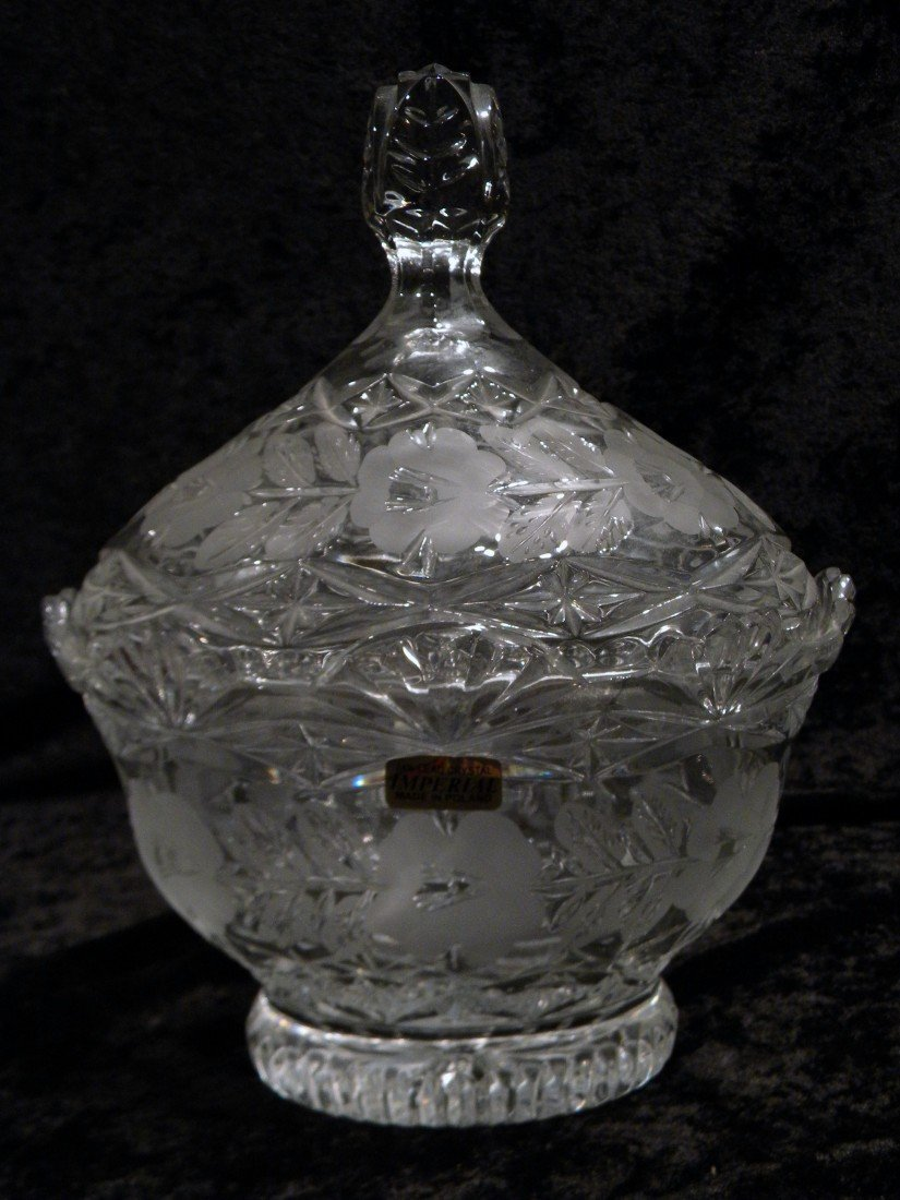 Imperial Lead crystal Lidded Oval Candy Dish