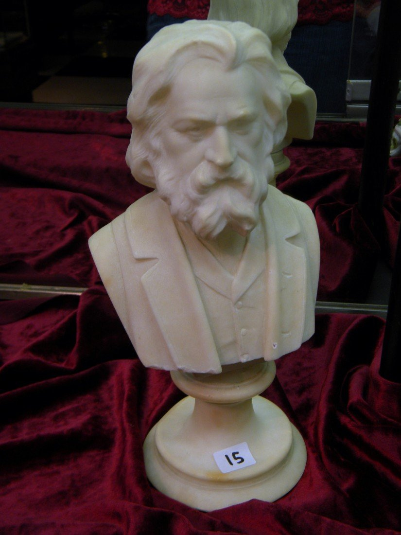 Marble Bust of Longfellow in 3-Piece Suit