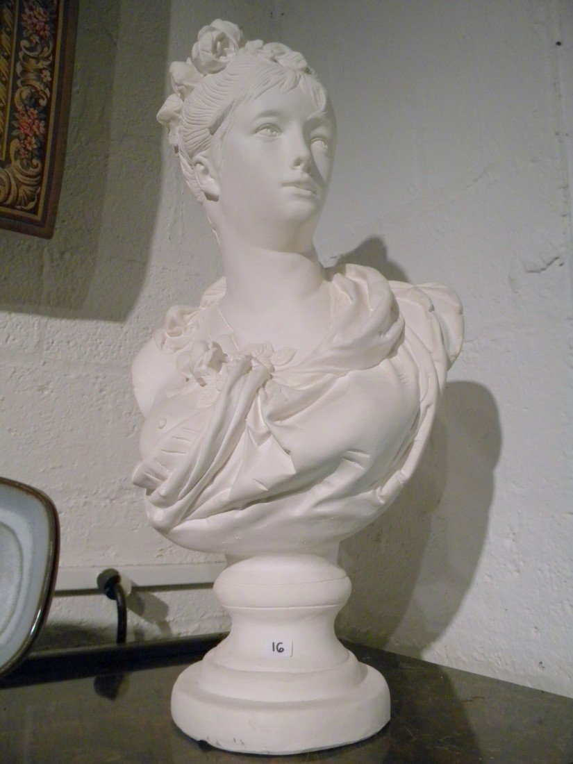Plaster Bust of Semi-Nude Woman in Toga