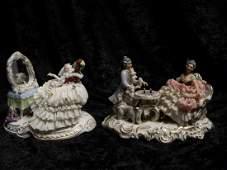 2 Dresden Style Glazed Porcelain Figural Groups